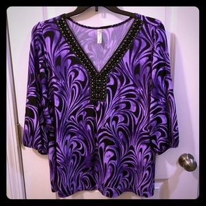 Purple swirl and bling blouse
